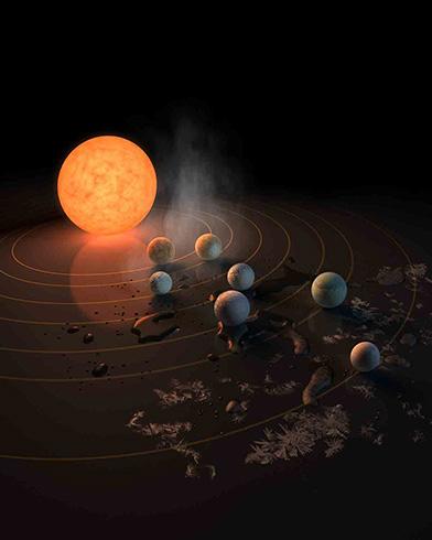 Künstlerische Darstellung des TRAPPIST-1 Planetensystems.
